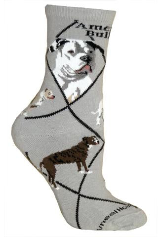 Bulldog, American on Gray Sock Size 10-13