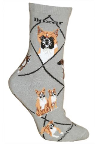 Boxer on Gray Sock Size 9-11