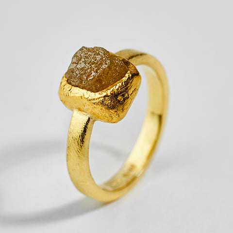 Rough Diamond Gold Ring
