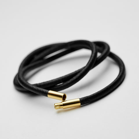 Leather necklace, 3 mm gold lock