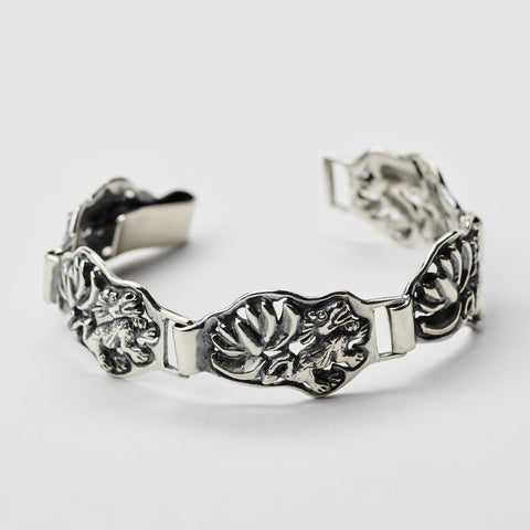 Lotus & Dragon Silver Bracelet