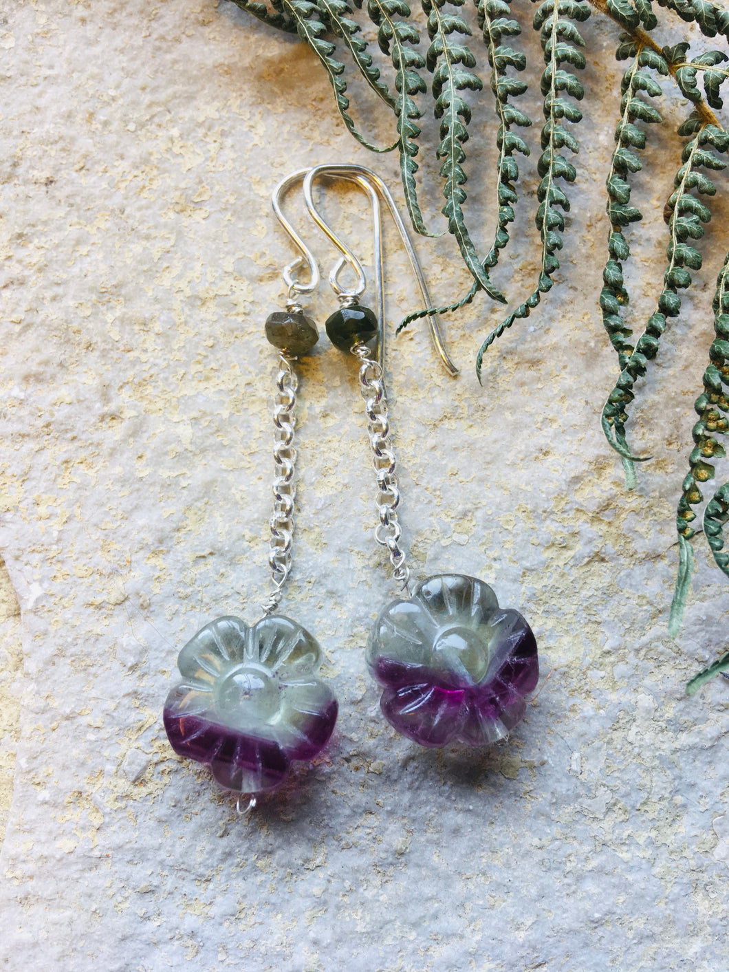Fluorite & Tourmaline st silver Chain Earrings