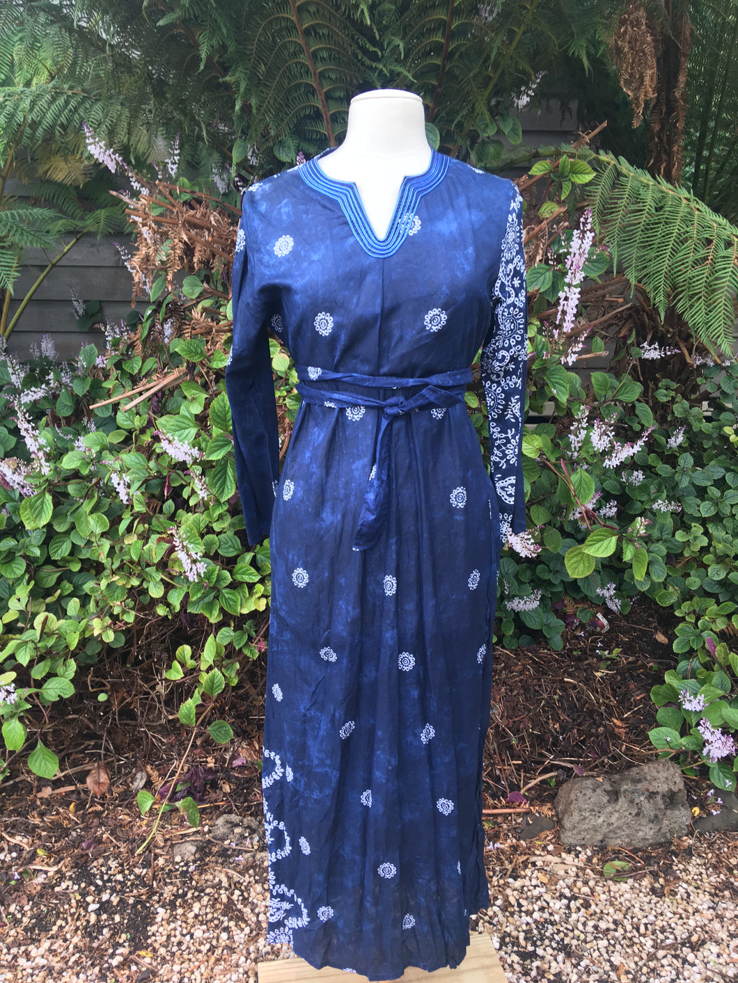 Kurta (Long) - Indigo & White Block Print