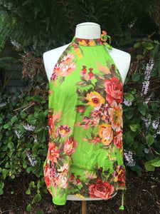 Tie Side Top (green floral)