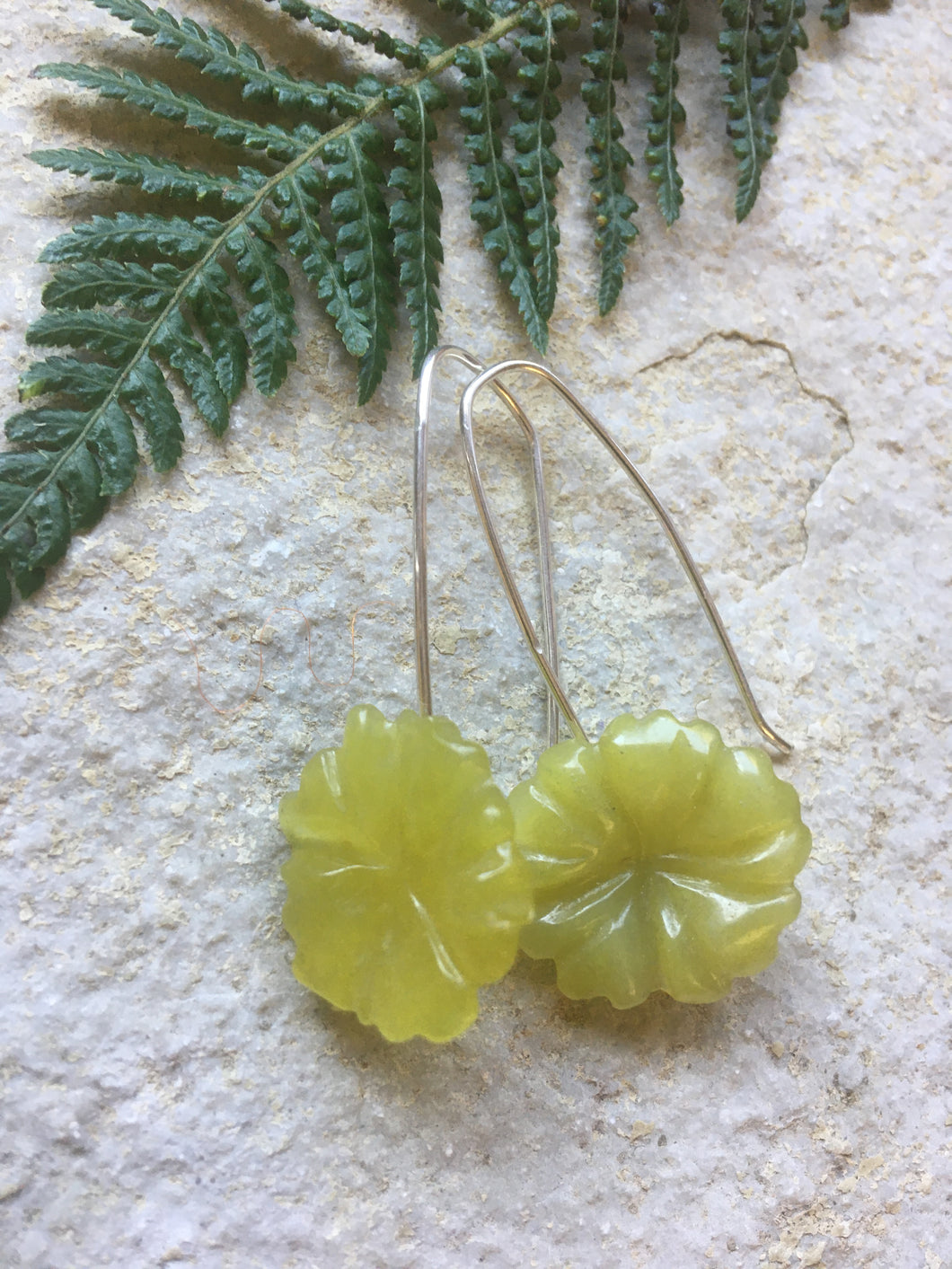 Jade Flower Earrings