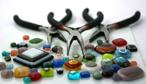 jewelry making supplies, glass beads, flat nose pliers