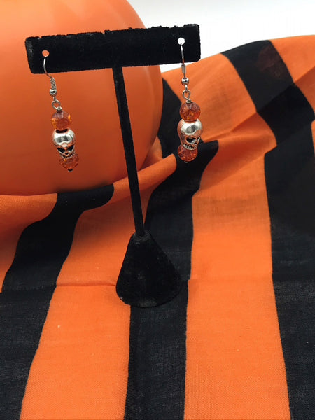 Orange Scary Skull Dangle Earrings