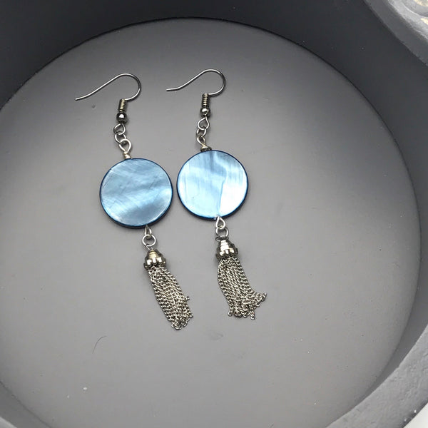 Blue Mother of Pearl with Silver Tassel Earrings