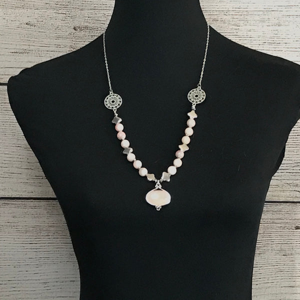 Andie Pink Rose Quartz Beaded Necklace with Pendant