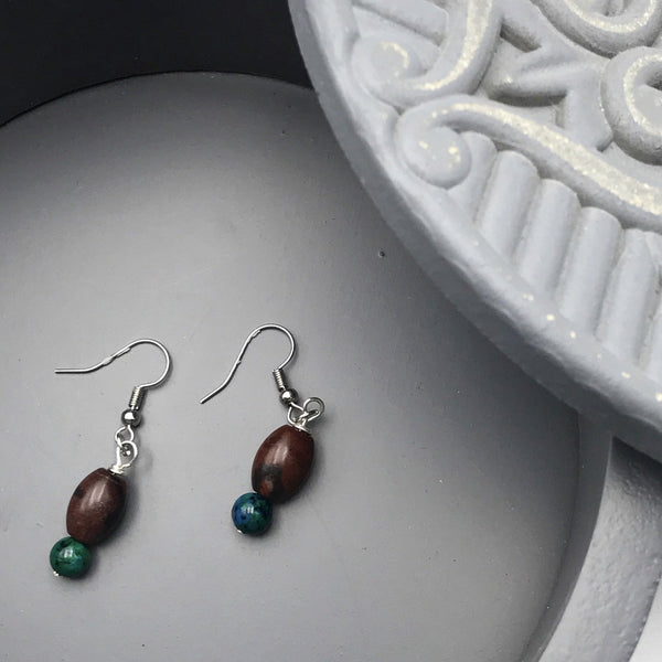 Maroon and Green Beaded Earrings