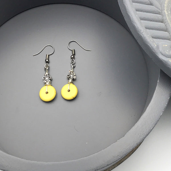 Yellow Magnesite and Flower Charm Earrings