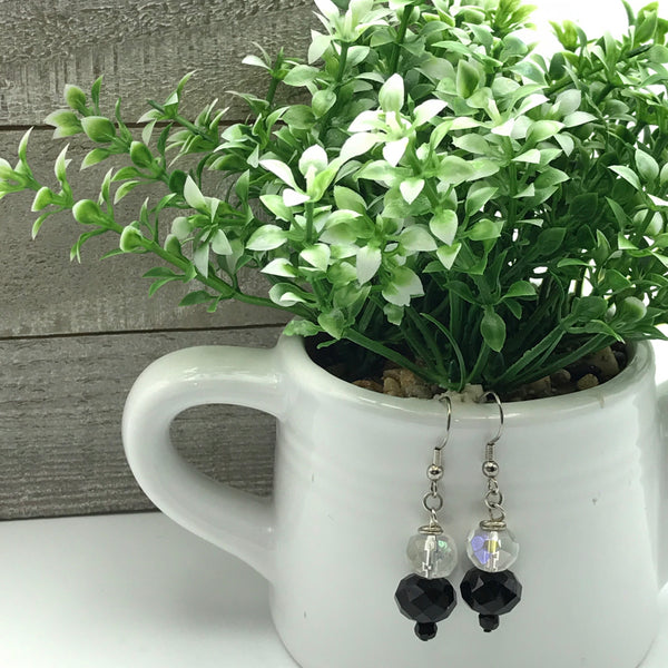 Black and Crystal Faceted Beaded Earrings