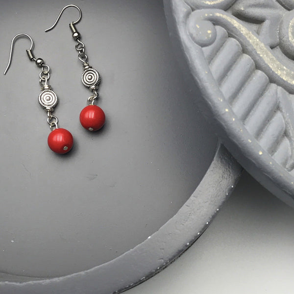 silver spacer beads, red round beads, dangle earrings, fish hook ear wires
