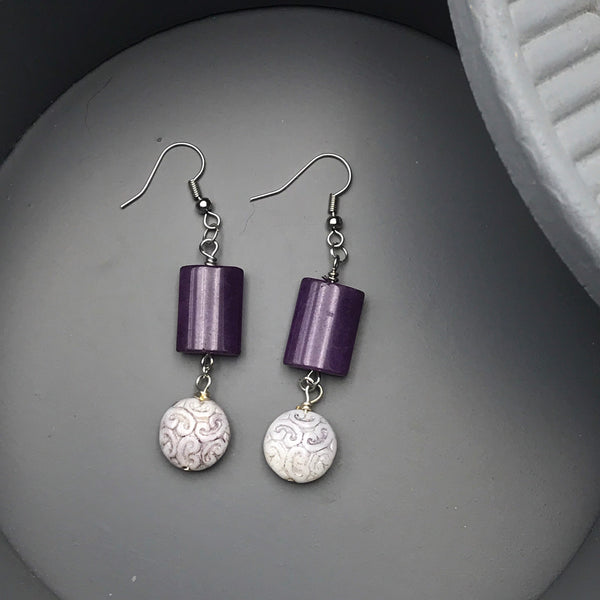 Purple and Lavender Beaded Earrings