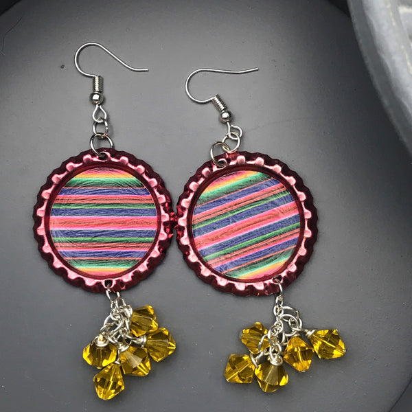 Red Bottle-cap Sarape Print Dangle Earrings