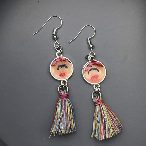 Frida Kahlo Inspired Polymerclay and Tassel Earrings