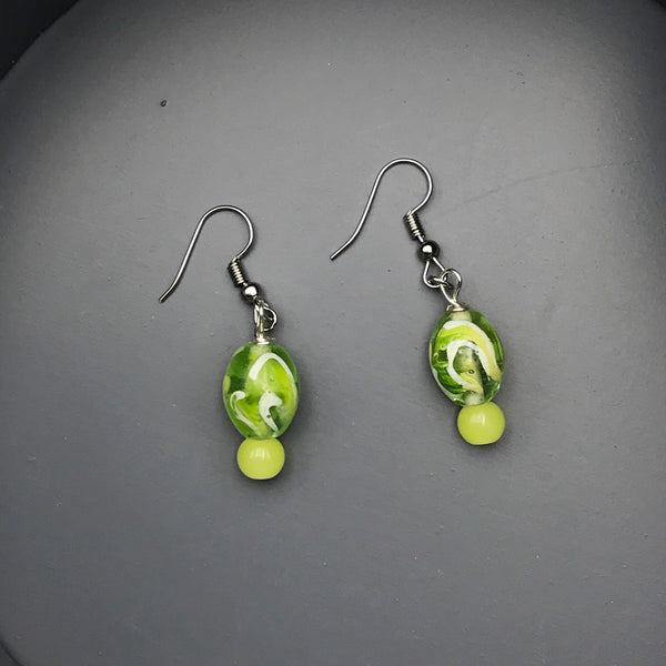 Green and Yellow Beaded Earrings