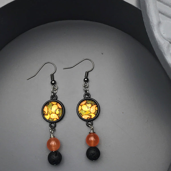 Orange and Black Beaded Earrings