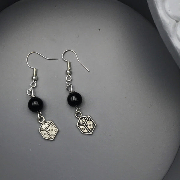 Black Bead and Dice Charm Earrings