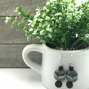 Lavender and Green Beaded Earrings