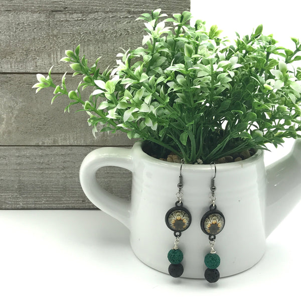 Black and Green Lava Stone Earrings