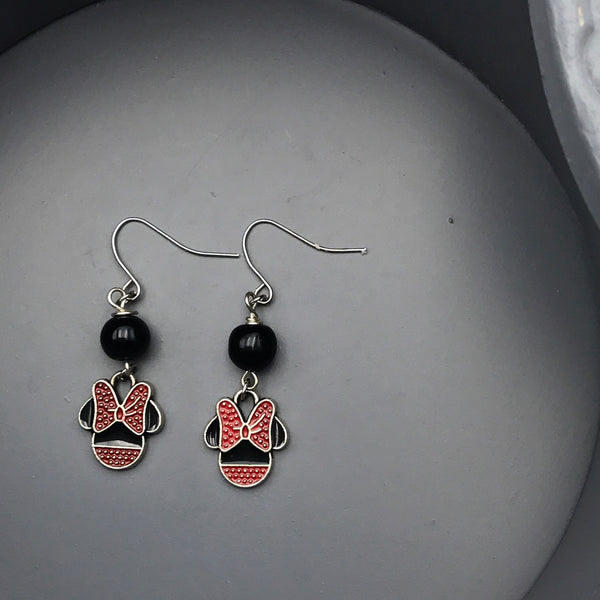 Black and Red Minnie Earrings