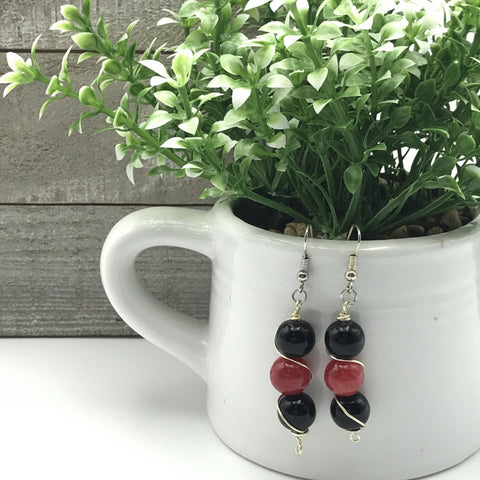 Black and Pink Glass Beaded Earrings
