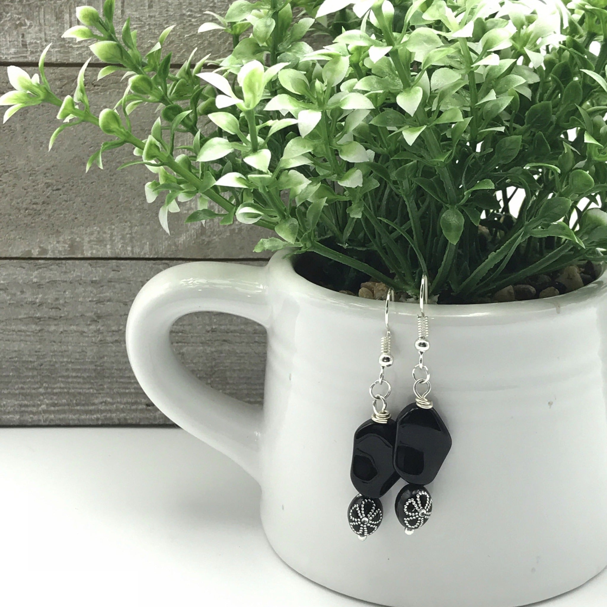 Black and Silver Beaded Earrings