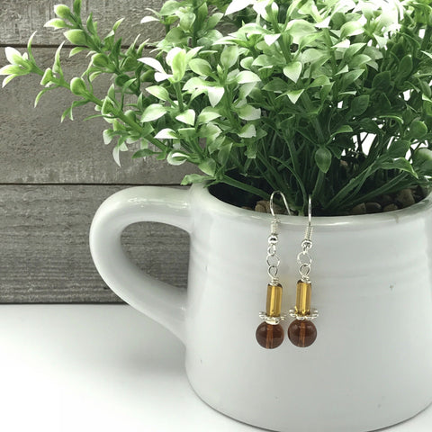 small orange beaded earrings, dangle earrings, fish hook ear wires