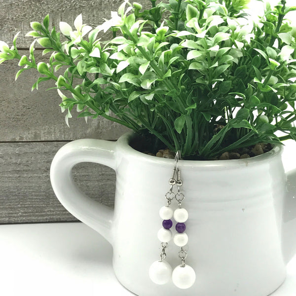 White and Purple. Beaded Earrings