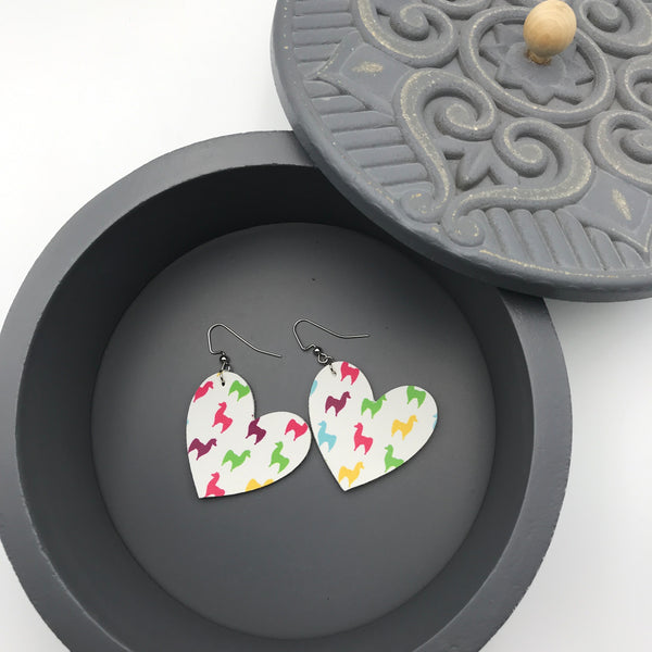 Llama Print Vinyl Earrings