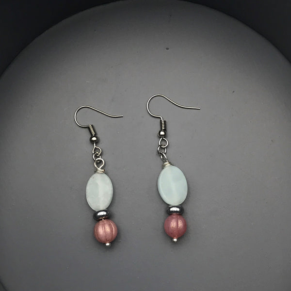 Green Aventurine and Pink Beaded Earrings