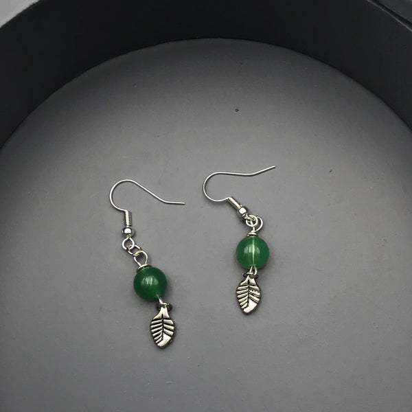 Leaf Charm with Green Bead Earrings