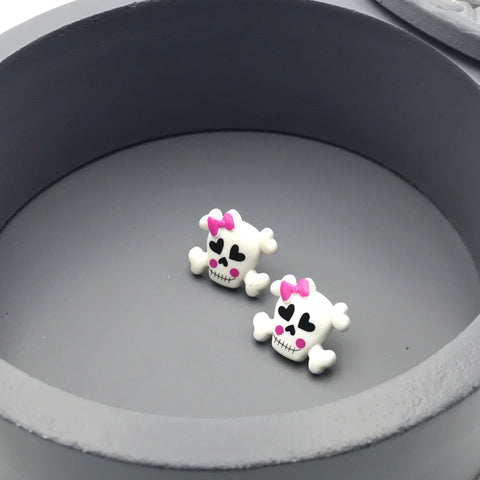 Cute White Skulls with Pink Bows