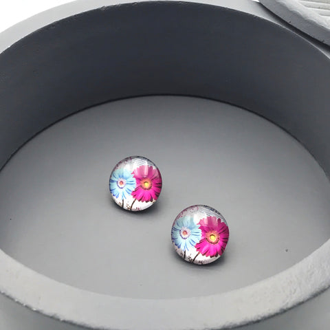Pink and Blue Daisy Stud Earrings