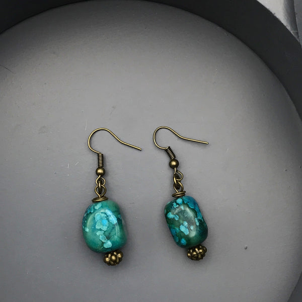 Morgan Blue Jasper Bronze Earrings
