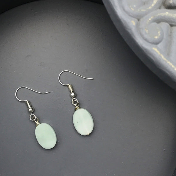 Fiona Oval Aventurine Dangle Earrings
