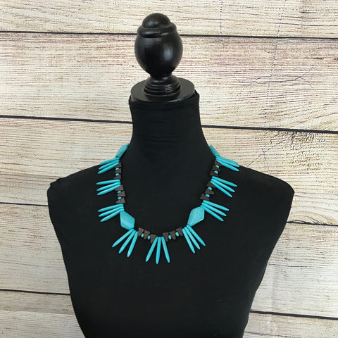 Tahnee Blue Howlite and Brown Wooden Beaded Necklace