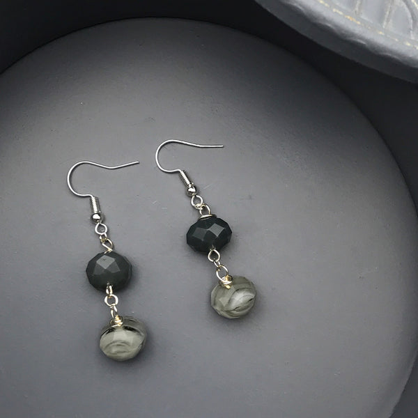 Mari Grey, Silver, and Beige Faceted Beaded Earrings