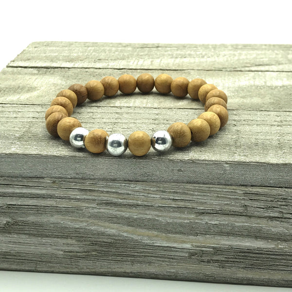 Brown Wood Beaded Bracelet with Silver Accent Beads