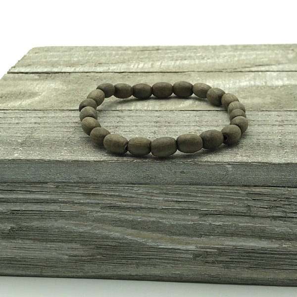 wooden oval beads, beaded stretch bracelet for her, beaded stretch bracelet for him