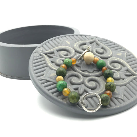 yellow round beads, green round beads, jasper beads, toggle closure, bracelet
