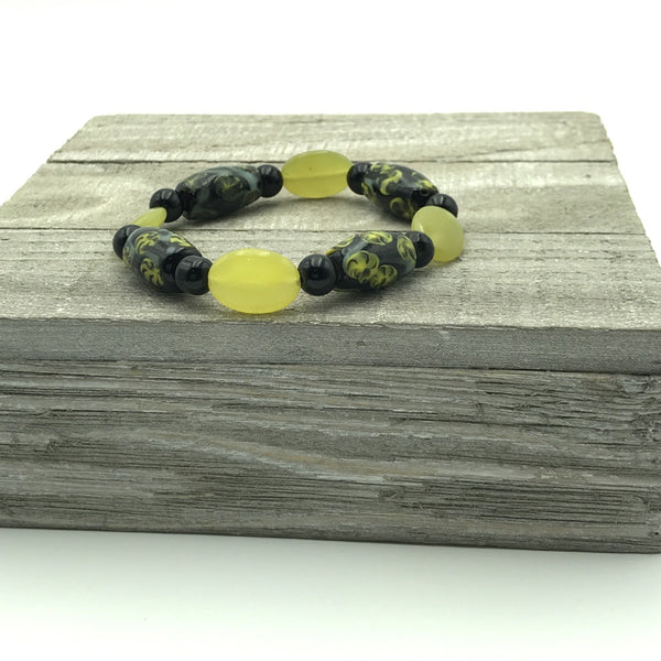Black Painted Ceramic and Yellow Beaded Bracelet