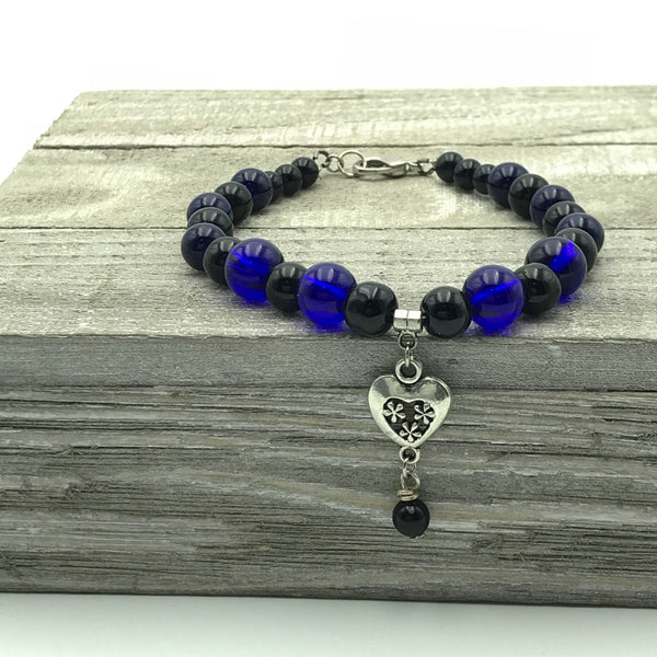Blue Heart Beaded Bracelet