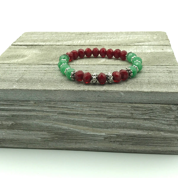 Red and Green Czech Glass Beaded Bracelet