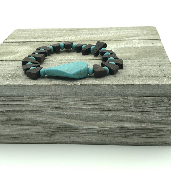 Tahnee Turquoise Blue and Brown Wooden Beaded Bracelet