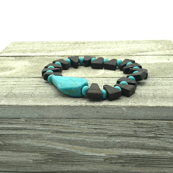 brown wooden beads, turquoise blue focal bead, stretch bracelet