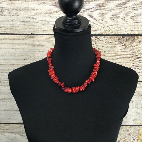 Rosario Red Vintage Coral Necklace