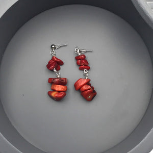 Rosario Red Vintage Coral Beaded Earrings