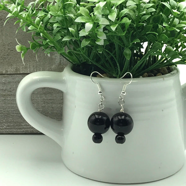 Rosalie Black Beaded Dangle Earrings
